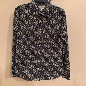 """J.Crew """"Perfect"""" Floral Blouse - Navy/Cream Size 6"""